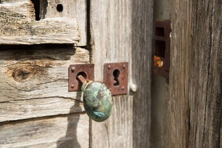 door handle: Old antique rusty French door handle