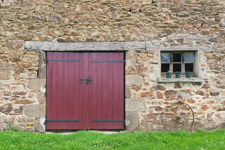 barn doors: Old French barn woth doors and window