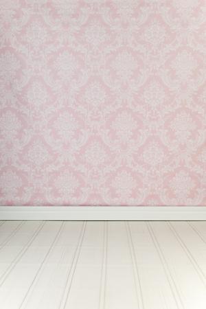 Vintage interior with pink wallpaper Standard-Bild