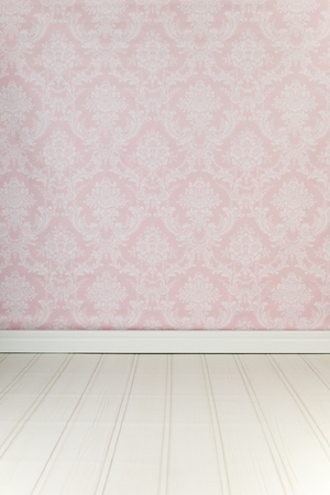 Vintage interior with pink wallpaper Stock Photo