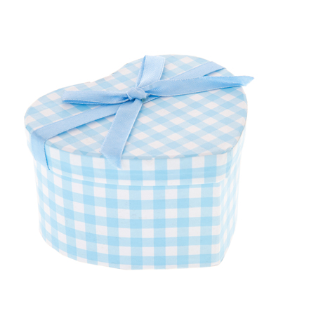 blue spotted: Blue spotted gift box isolated over white background