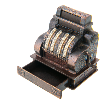 copper coin: Copper antique cash register isolated over white background