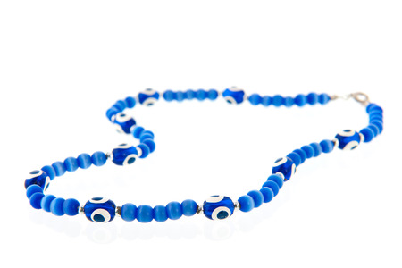chainlet: Turkish chainlet with blue eye isolated over white background