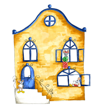 clogs: Watercolor illustration of house full with mice