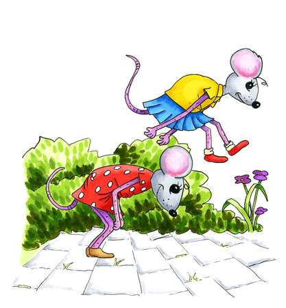 leapfrog: Watercolor illustration of playing mouse children at the street Stock Photo