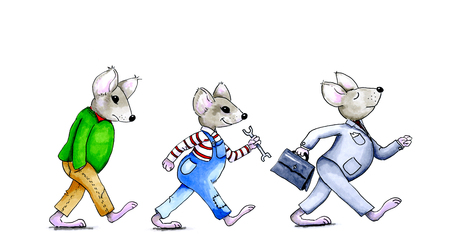 mechanical mouse: Hand drawn illustration of the director, the employee and the layoff