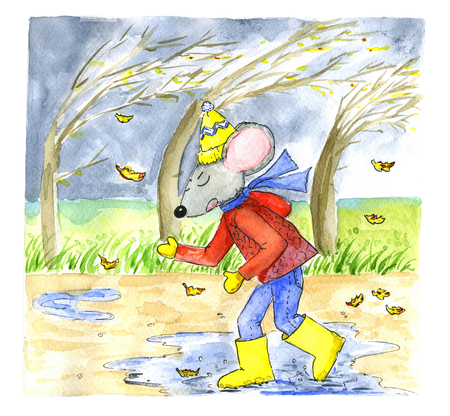 inclement: Watercolor illustration of a mouse walking in autumn rain