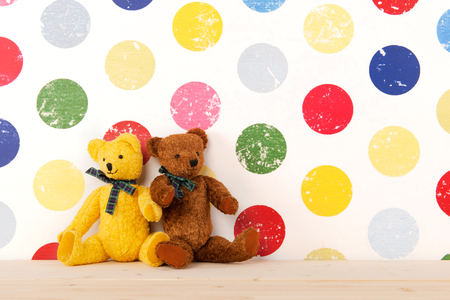 nursery room: vintage bears in colorful nursery room