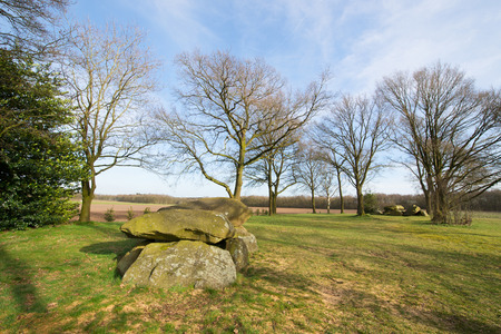 dutch typical: Typical old Dutch graves in Drenthe Stock Photo