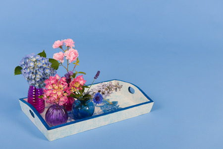 garden cornflowers: Hydrangeas pink and blue and other flowers on colorful background Stock Photo