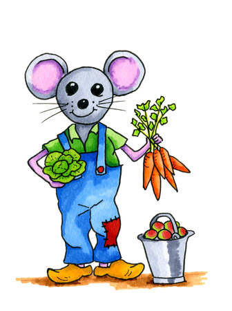 wooden shoes: Handddrawn illustration mouse