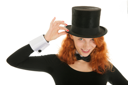 dandy: Poetrait woman as dandy with black hat isolated over white background