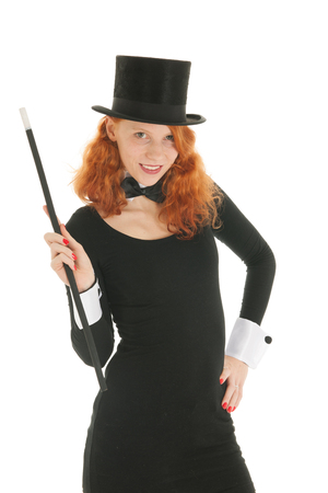 dandy: Woman as dandy with black hat and stick isolated over white background