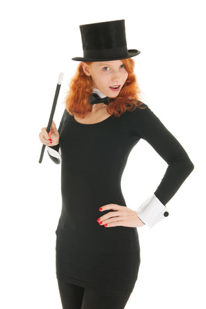 dandy: Woman as dandy with black hat looking surprised isolated over white background