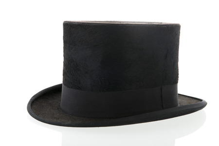 topper: black top hat isolated over white background Stock Photo