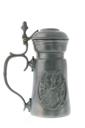 pewter: Pewter tankard from tin isolated over white background