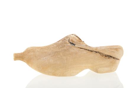 proto: Proto type Dutch wooden clog isolated over white background Stock Photo