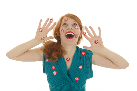 excitation: Woman during season sale with reduction Stock Photo