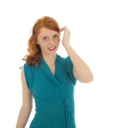 red haired woman: Portrait red haired woman with blue dress isolated over white background