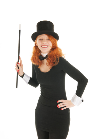 dandy: Happy smiling woman as dandy with black hat and stick isolated over white background
