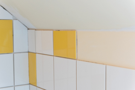 bathroom tiles: Renovation with tiles in the bathroom Stock Photo