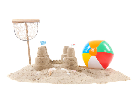 white sand beach: Beach with sand, fishing net and toys isolated over white background
