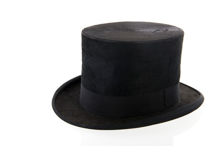 stove pipe: black top hat isolated over white background Stock Photo