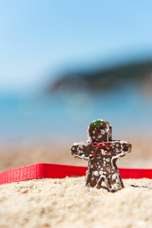 ginger bread man: Christmas chocolate ginger bread man standing at summer beach