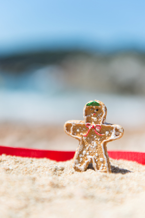 ginger bread man: Christmas ginger bread man standing at summer beach Stock Photo