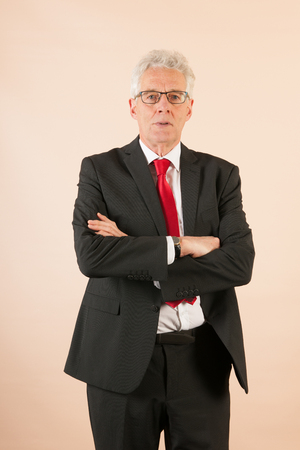Formally Dressed Senior Business Man With Neck Tie Stock Photo