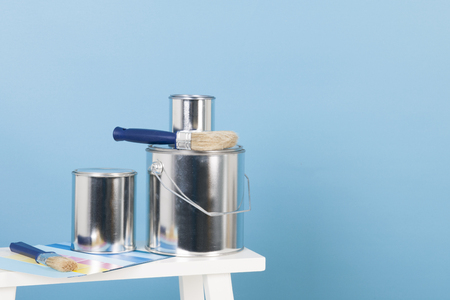 tins: Painting the interior with tins and brushes