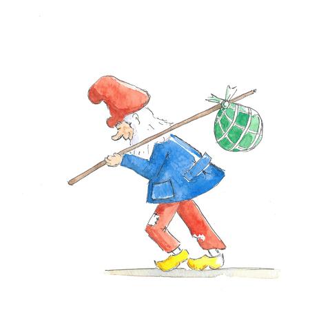 Illustration little gnome traveling around the world