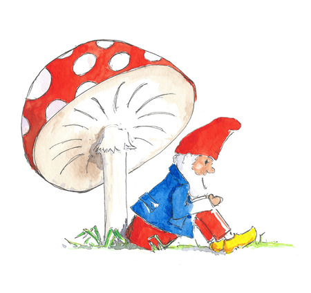 Illustration little gnome sitting under red and white mushroom