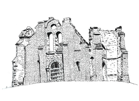 ruins: Illustration of a ruin chapel in France Stock Photo