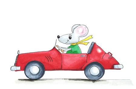 red  open: Illustration mouse in red open car isolated over white background Stock Photo