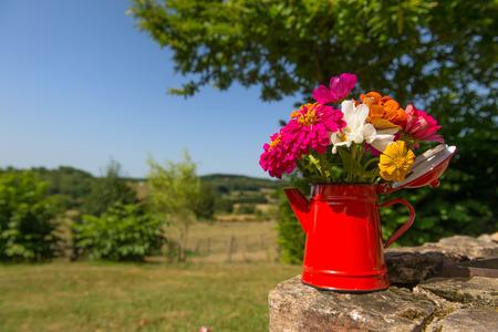 enamel: Bouquet garden flowers in red enamel tea pot Stock Photo