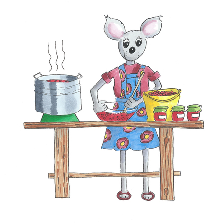 Illustration of mouse cooking jam from fresh fruit