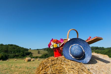 hayroll: Bouquet garden flowers picnic basket and summer hat on hay roll in summertime in France