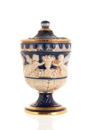vasi greci: Vaso greco antico isolata su bianco Archivio Fotografico