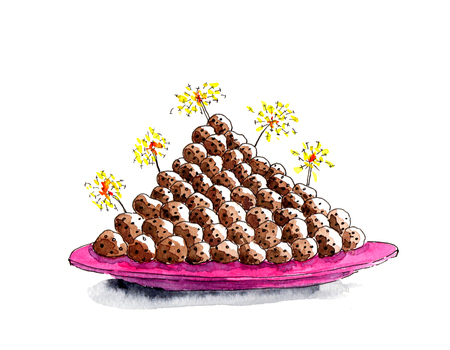 Oliebollen, illustration of typical Dutch food for new-year