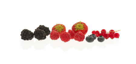 assortment soft fruit isolated over white background