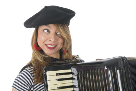 making music: Portrait French girl making music with accordion instrument isolated over white background