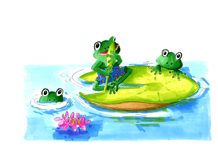 Funny frogs on waterlilies