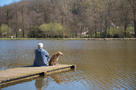 Man sitting with his dog on landing stage at nature lake Stock Photo