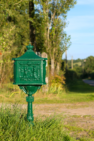 Green classic post pox outdoor Stock Photo