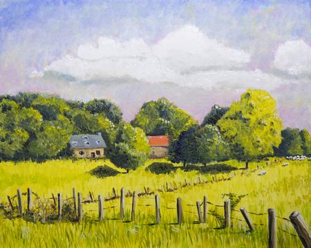Französische Landschaft mit Häusern und Wiesenölgemälde Standard-Bild - 90884325