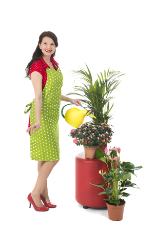 Housewife giving water at the plants in the interior