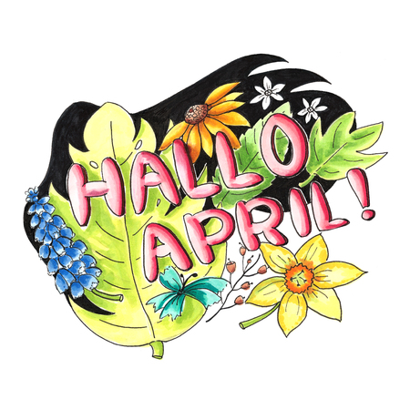 Illustration of a dutch welcome to the month april