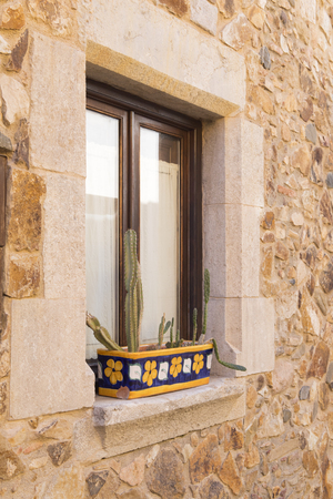 Spanish window with cacti in pot