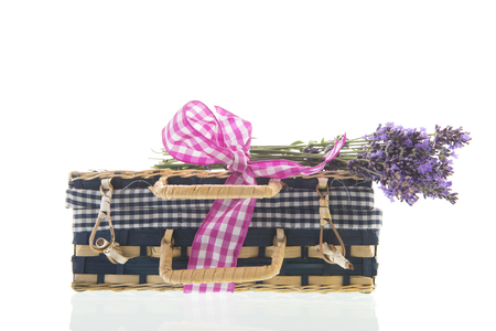 Blue suitcase with bouquet Lavender isolated over white background